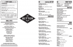 The Bitter Bar Menu